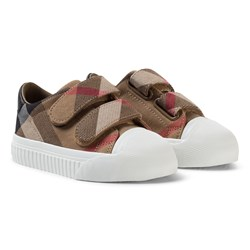 Burberry Beige and White Classic Check Velcro Trainers