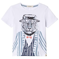 Billybandit Tiger in Suit Print Short Sleeve Tee White