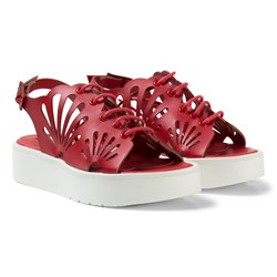 Stella McCartney Kids Red Flores Cut Out Shell Sandals
