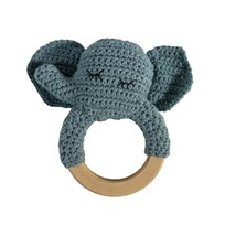 sebra Crochet Rattle Elephant on Wooden Ring Black