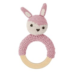 sebra Crochet Rattle Rabbit on Wooden Ring Vintage Rose