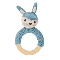 sebra Crochet Rattle Rabbit on Wooden Ring Cloud blue cloud blue