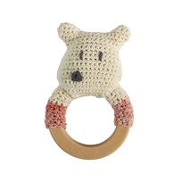 sebra Crochet Rattle Polar Bear on Wooden Ring White
