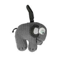 sebra Crochet Music Mobile Elephant Grey Musta