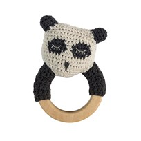sebra Crochet Rattle Panda on Wooden Ring Black