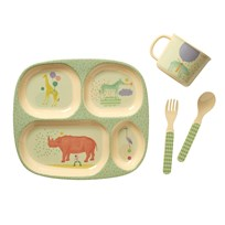 Rice Baby Melamine Dinner Set with Animal Prints Boys Animal Print