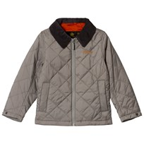 Barbour Light Grey Quilted Helm Jacket with Black Corduroy Collar GY33