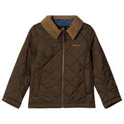 Barbour Olive Quilted Helm Jacket with Beige Corduroy Collar