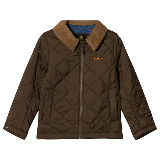 Barbour Olive Quilted Helm Jacket with Beige Corduroy Collar OL52