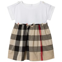 Burberry Beige New Classic Check Rhonda Jersey and Woven Dress New Classic Check