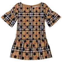 Burberry Beige Classic Check Dress with Spot Print Navy