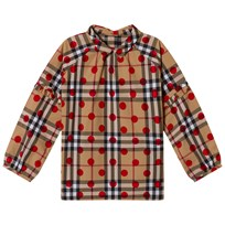Burberry Beige Classic Check Blouse with Spot Parade Red