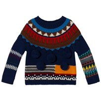 Burberry Navy Multi Knit Billie Cashmere Jumper Bright Navy