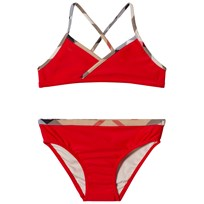 Burberry Red Bikini with Classic Check Trims Red