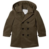 Burberry Detachable Hood Cotton Blend Trench Coat Olive DARK OLIVE