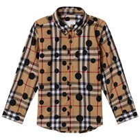 Burberry Beige New Classic Check Fred Shirt with Spot Print Navy