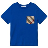 Burberry Cobalt Blue Tee with Check Pocket Cobalt Blue