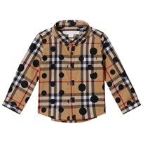 Burberry Beige Classic Check Shirt with Spot Print Navy