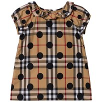 Burberry Ruffle Detail Polka-dot Check Cotton Dress Navy