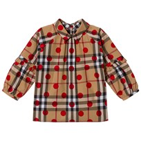 Burberry Beige New Classic Check Blouse with Red Spot Parade Red