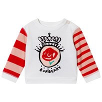 Burberry White and Red Rose Applique Tee NATURAL WHITE
