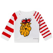 Burberry White Lion Applique and Stripe Tee NATURAL WHITE