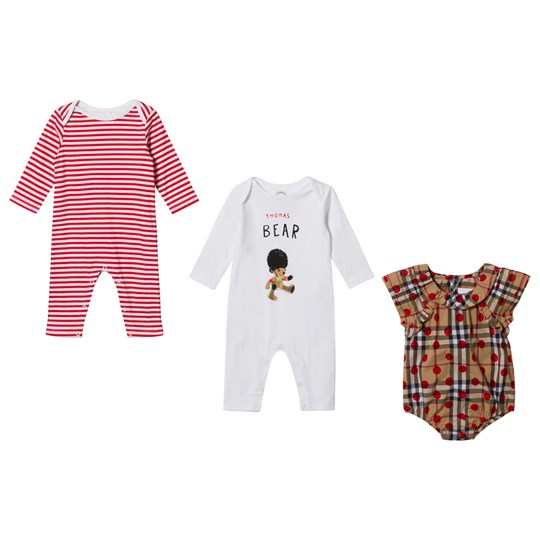 Burberry Cotton Three-Piece Baby Gift Set Military Red