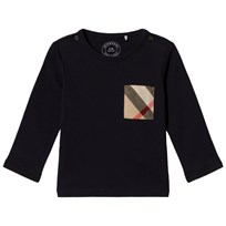 Burberry Navy Long Sleeve Tee with Classic Check Pocket True Navy