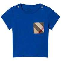 Burberry Cobalt Short Sleeve Tee with Classic Check Pocket Cobalt Blue