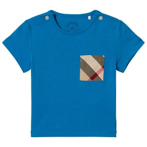 Image of Burberry Cyan Blue Short Sleeve Tee with Classic Check Pocket 6 months (2911757309)