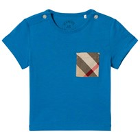 Burberry Cyan Blue Short Sleeve Tee with Classic Check Pocket CYAN BLUE