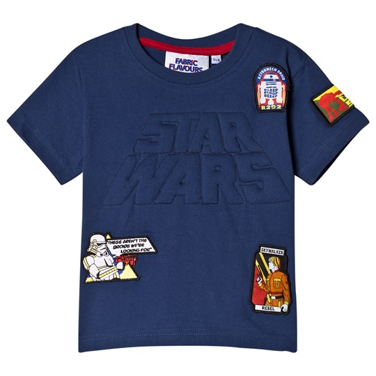 Fabric Flavours Navy Star Wars Embossed Logo Badge T-Shirt Navy