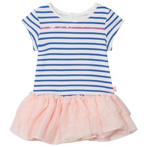 Image of Billieblush Blue and White Stripe Dress with Pink Tulle Hem 6 months (2911757583)