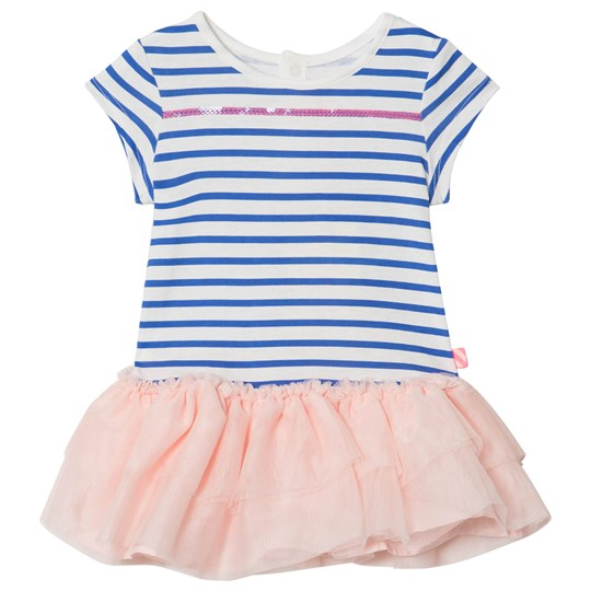 Billieblush Blue and White Stripe Dress with Pink Tulle Hem 81L