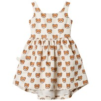 Moschino Kid-Teen Cream Bear Print Party Dress (Mini Me) 83196