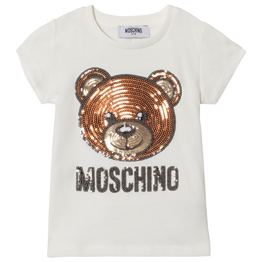 Moschino Kid-Teen White Sequin Bear Tee 10063