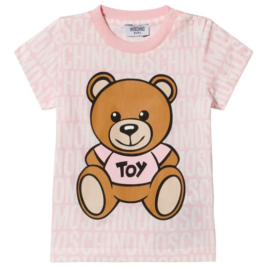 Moschino Kid-Teen Pale Pink All Over Branded Bear Tee 83193