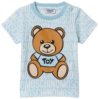 Moschino Kid-Teen Pale Blue All Over Branded Bear Tee 83194