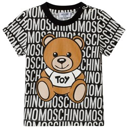 Moschino Kid-Teen Black All Over Branded Bear Tee