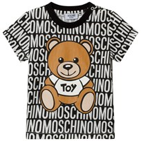 Moschino Kid-Teen Black All Over Branded Bear Tee 83190