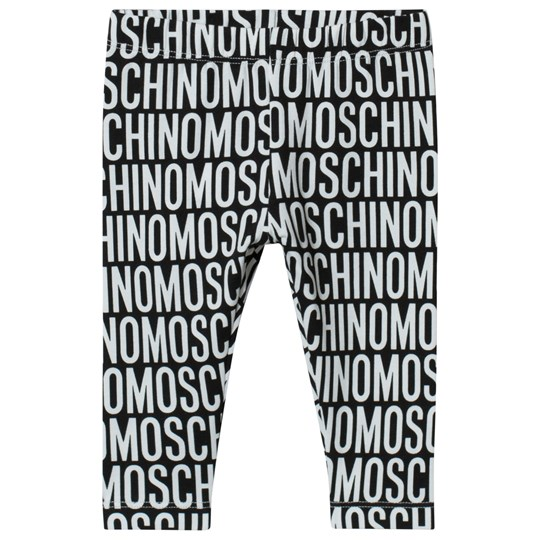 Moschino Kid-Teen Black All Over Branded Print Leggings 83190