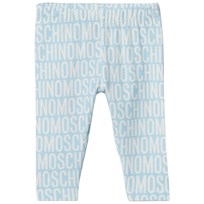Moschino Kid-Teen Pale Blue All Over Branded Print Leggings 83194