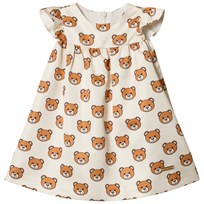 Moschino Kid-Teen Cream All Over Bear Party Dress 83196