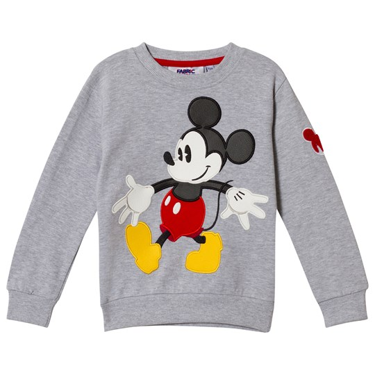 Fabric Flavours Grey Mickey Mouse Applique Sweatshirt Black
