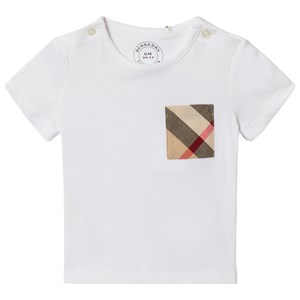 Image of Burberry White Short Sleeve Tee with Classic Check Pocket 9 months (2911758809)