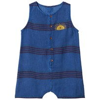 Bobo Choses Stripes Linen Romper Turkish Sea Turkish Sea