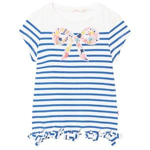 Image of Billieblush Blue Stripe Beaded Bow Stripe Tee 10 years (2911757497)