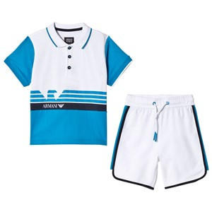 Image of Emporio Armani Blue and White Polo and Shorts Set 14 years (2911757579)