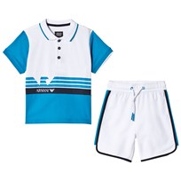 Armani Junior Blue and White Polo and Shorts Outfit Set 1520