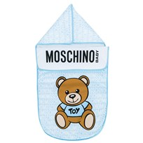 Moschino Kid-Teen Blue All Over Branded Bear Nest Footmuff Blue 83194